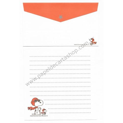 Conjunto de Papel de Carta Snoopy Ace CLA Antigo (Vintage) Peanuts