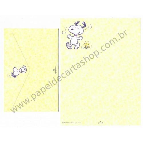 Conjunto de Papel de Carta Snoopy Yellow Antigo (Vintage) Hallmark
