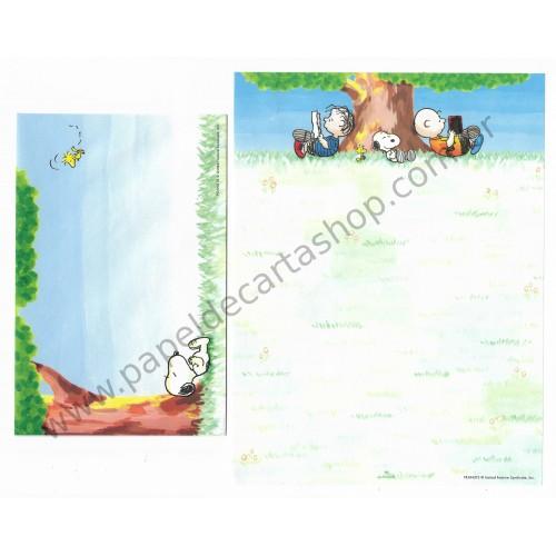 Conjunto de Papel de Carta Snoopy & Tree Antigo (Vintage) Hallmark