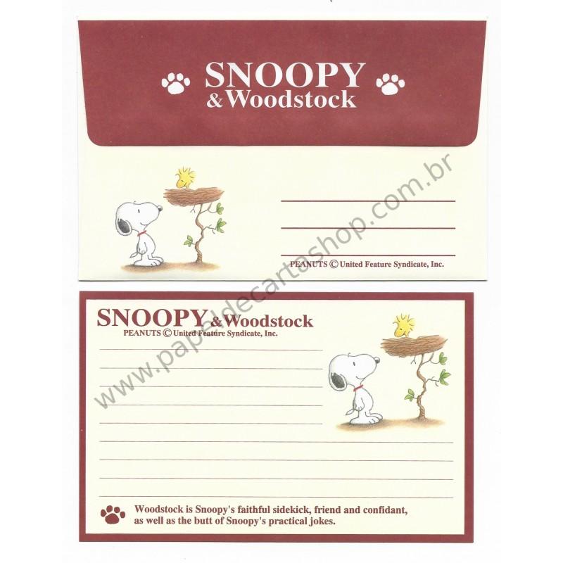 Conjunto de Papel de Carta Pequeno Snoopy & Wood CMR Antigo (Vintage) Hallmark