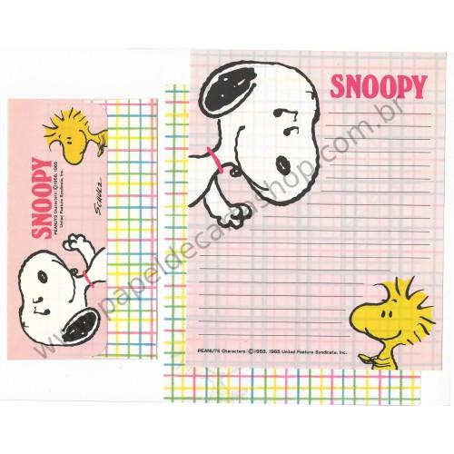 Conjunto de Papel de Carta Snoopy & Woodstock XDZ Antigo (Vintage) Hallmark