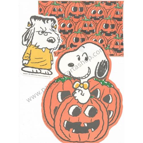 Ano 1958. Conjuntos de Papel de Carta Snoopy Halloween Antigo (Vintage) Hallmark Japan
