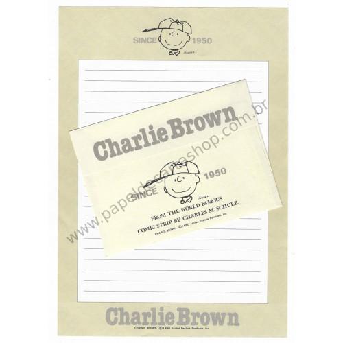 Conjunto de Papel de Carta Charlie Brown 1950 (Vintage) Hallmark Japan