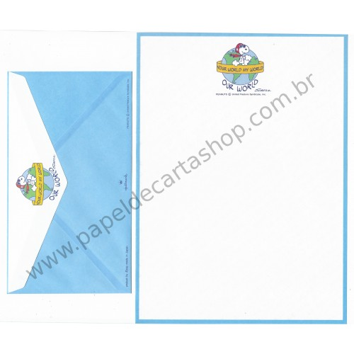 Conjunto de Papel de Carta Antigo (VIntage) Snoopy Our World - Peanuts