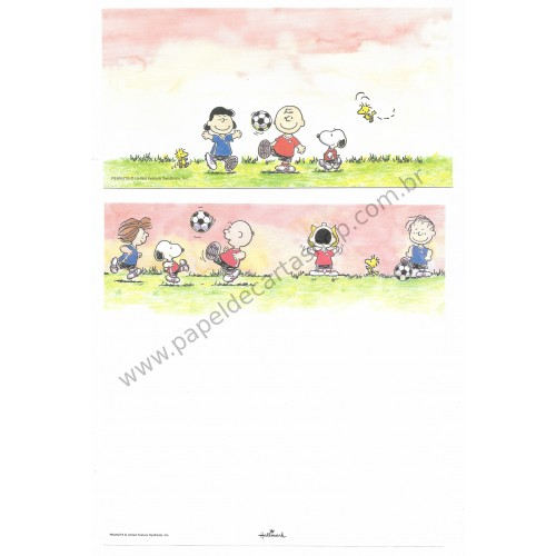Conjunto de Papel de Carta Antigo (VIntage) Snoopy & Friends Football