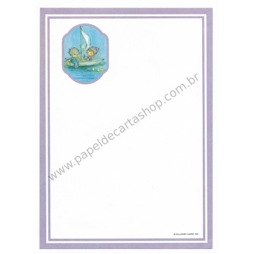 Papel de Carta Antigo AVULSO Importado Mary Hamilton Boat - Hallmark