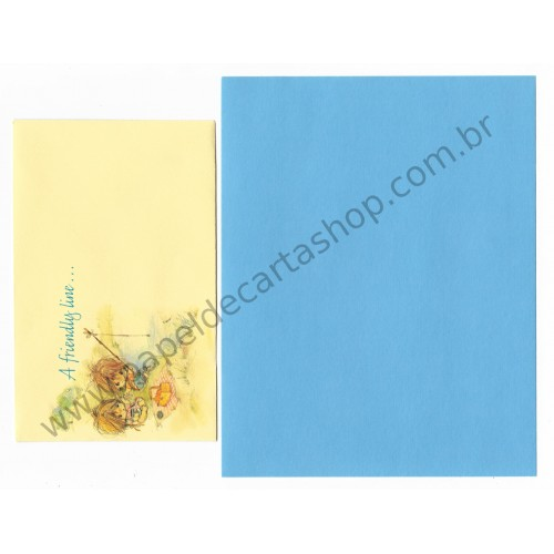 Conjunto de Papel de Carta Antigo Importado Elena A Friendly Line