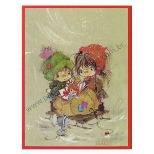 Cartão Antigo Importado Elena Urchins - Cesta de Brinquedos
