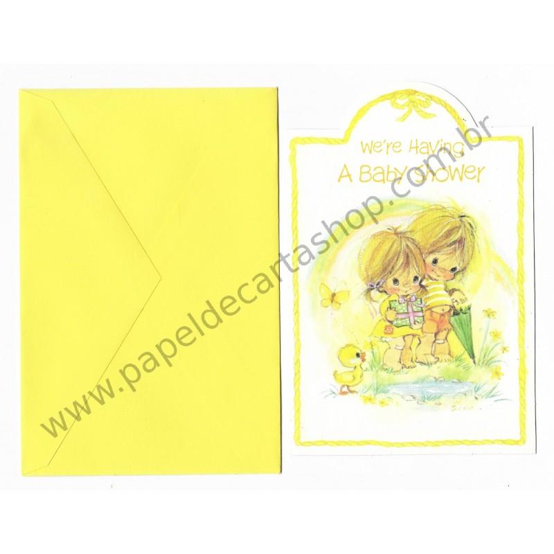 Cartão Antigo Importado Elena Urchins - A Baby Shower