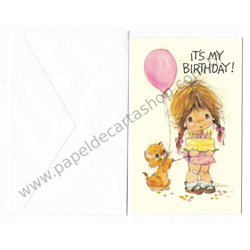 Cartão Antigo Importado Elena Urchins - My Birthday