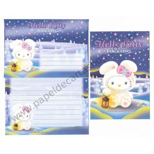 Ano 2004. Conjunto de Papel de Carta Hello Kitty Hokkaido ADE Sanrio