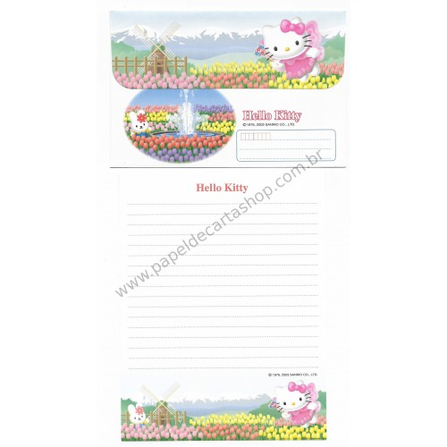 Ano 2003. Conjunto de Papel de Carta Gotōchi Kitty Tulips Sanrio