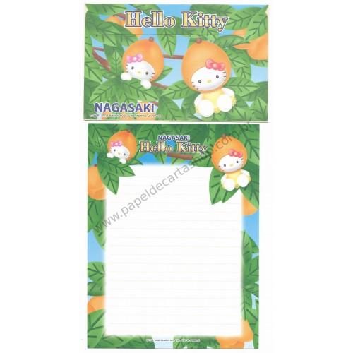 Ano 2002. Conjunto de Papel de Carta Gotōchi Kitty Nagasaki Sanrio