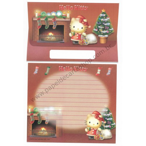 Ano 2002. Conjunto de Papel de Carta Hello Kitty Christmas Sanrio