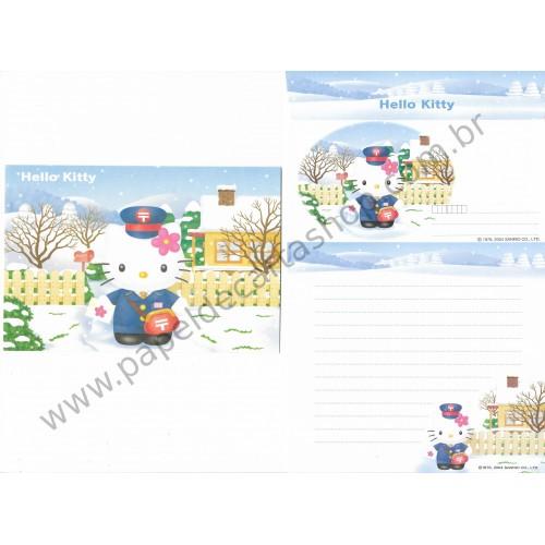 Ano 2004. Conjunto de Papel de Carta Hello Kitty Regional POST Sanrio