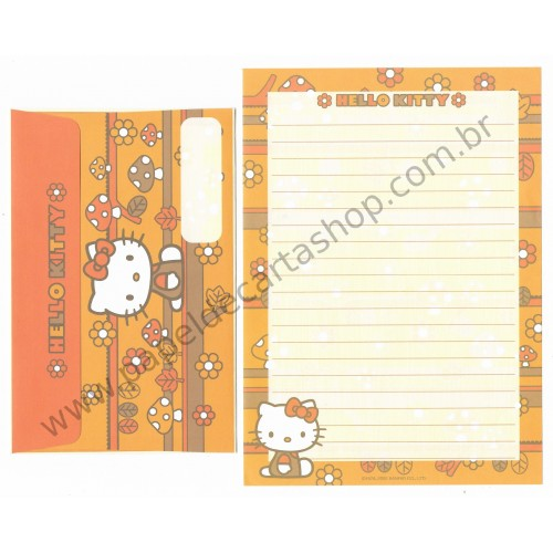 Ano 2002. Conjunto de Papel de Carta Hello Kitty Mushrooms 1 Sanrio