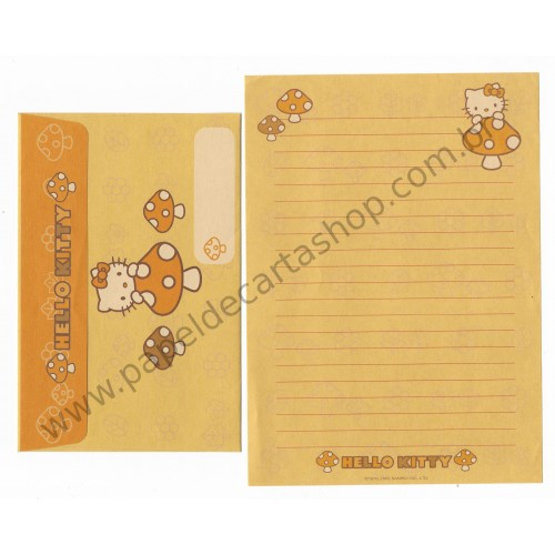 Ano 2002. Conjunto de Papel de Carta Hello Kitty Mushrooms 2 Sanrio