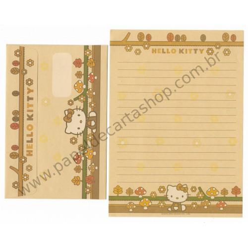 Ano 2002. Conjunto de Papel de Carta Hello Kitty Mushrooms 3 Sanrio