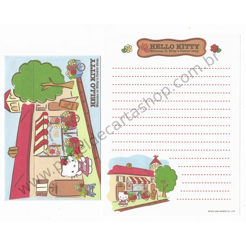 Ano 2004. Conjunto de Papel de Carta Hello Kitty Flower Shop Sanrio