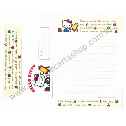 Ano 2004. Conjunto de Papel de Carta Hello Kitty Pictures and Reading Sanrio