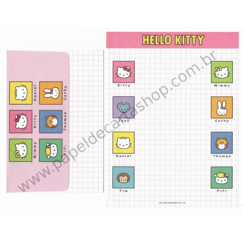 Ano 2004. Conjunto de Papel de Carta Hello Kitty Family Sanrio