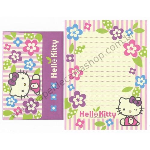Ano 2004. Conjunto de Papel de Carta Hello Kitty Flores CLL Sanrio