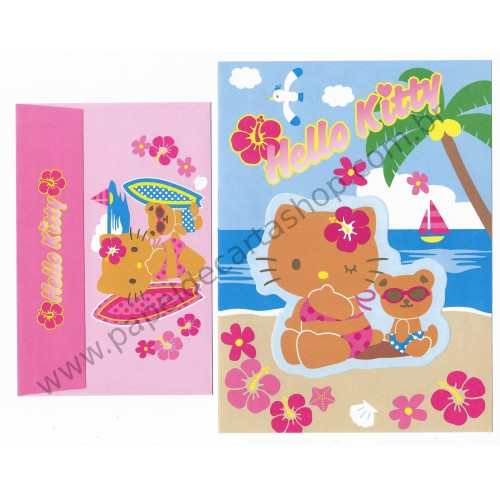 Ano 2005. Conjunto de Papel de Carta Hello Kitty Beach Sanrio