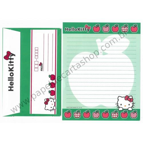 Ano 2005. Conjunto de Papel de Carta Hello Kitty Apples CVD Sanrio