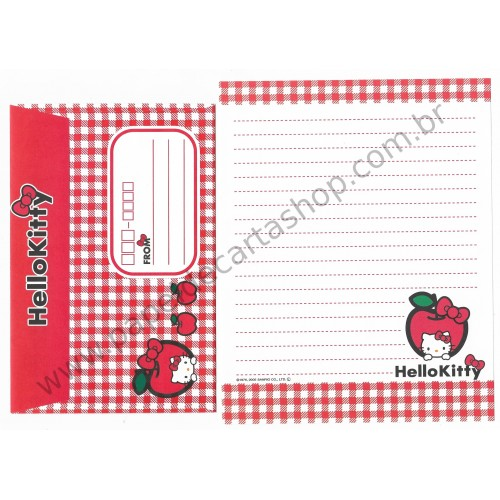 Ano 2005. Conjunto de Papel de Carta Hello Kitty Apples CVM Sanrio