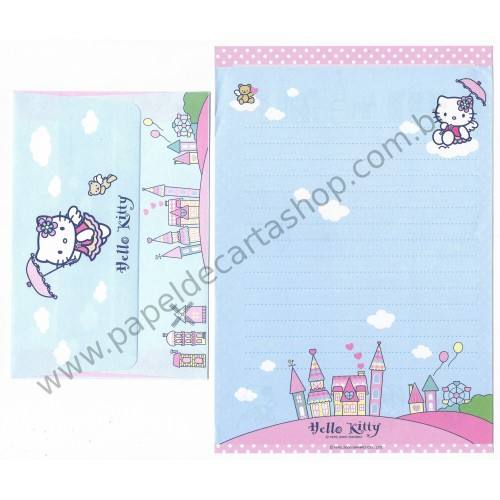 Ano 2005. Conjunto de Papel de Carta Hello Kitty Umbrella Dupla Sanrio