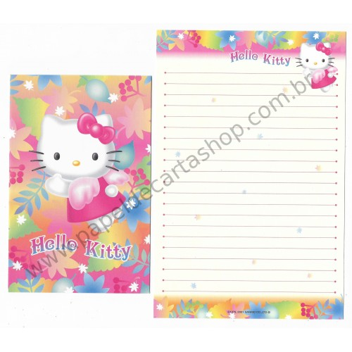 Ano 2001. Conjunto de Papel de Carta Hello Kitty Flower Angel Sanrio