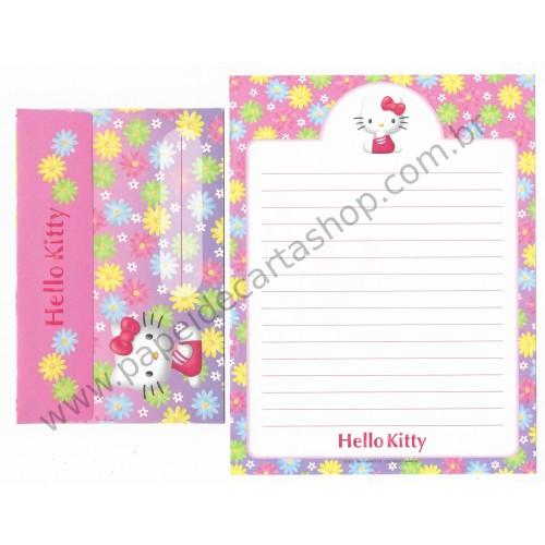 Ano 2001. Conjunto de Papel de Carta Hello Kitty Flowers and Colors Sanrio