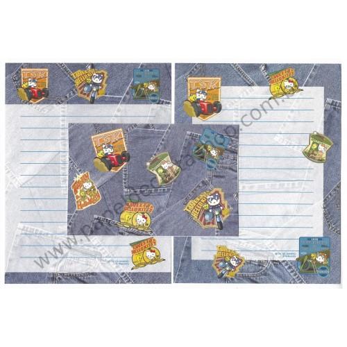 Ano 2002. Conjunto de Papel de Carta Hello Kitty & Tweety Jeans Sanrio