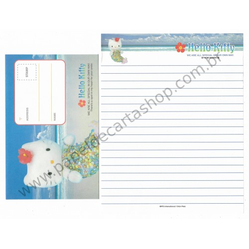 Ano 1998. Conjunto de Papel de Carta Hello Kitty Mermaid2 Antigo (Vintage) Sanrio