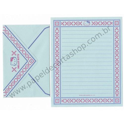 Ano 2000. Conjunto de Papel de Carta Hello Kitty AZUL Sanrio