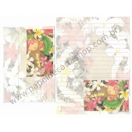 Ano 2002. Kit 2 Conjuntos de Papel de Carta Hello Kitty Hawaii Hibiscus Sanrio
