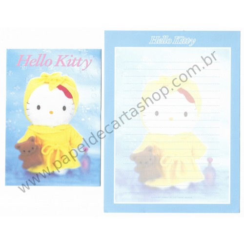 Ano 2001. Conjunto de Papel de Carta Hello Kitty AM Pelúcia F2 Sanrio