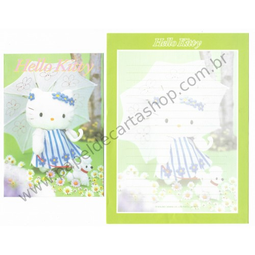 Ano 2001. Conjunto de Papel de Carta Hello Kitty & Pet Pelúcia F2 Sanrio