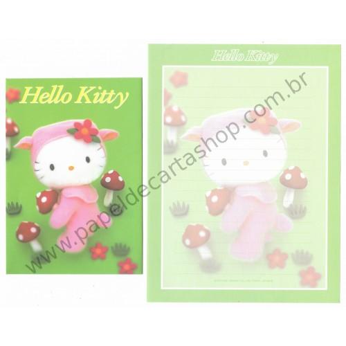Ano 2001. Conjunto de Papel de Carta Hello Kitty & Cogumelos Pelúcia F2 Sanrio