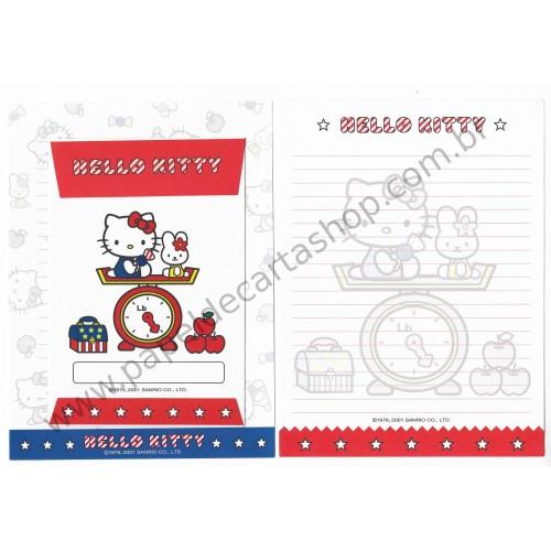 Ano 2001. Conjunto de Papel de Carta Hello Kitty Star Dupla Sanrio