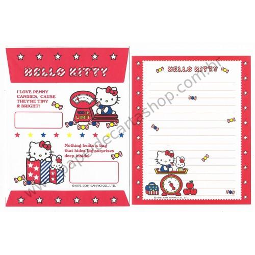 Ano 2001. Conjunto de Papel de Carta Hello Kitty Star PVM Sanrio