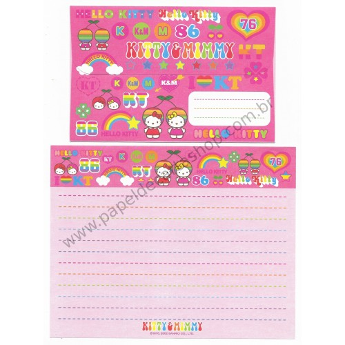 Ano 2002. Conjunto de Papel de Carta Hello Kitty & Mimi Sanrio