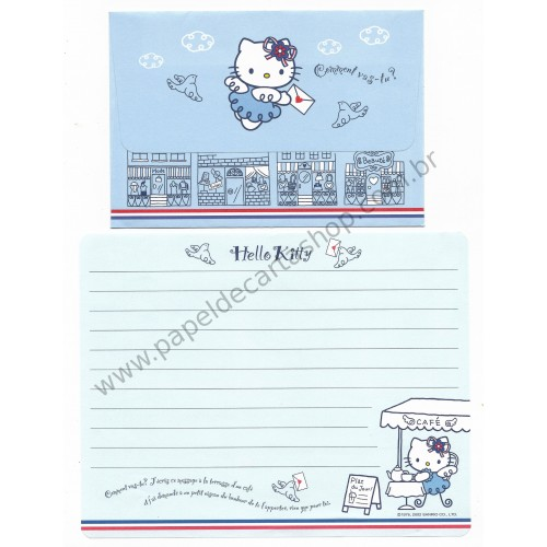 Ano 2002. Conjunto de Papel de Carta Hello Kitty French 2 Sanrio