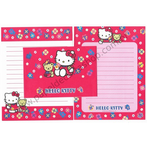 Ano 2004. Conjunto de Papel de Carta Hello Kitty Bear CVM Dupla Sanrio