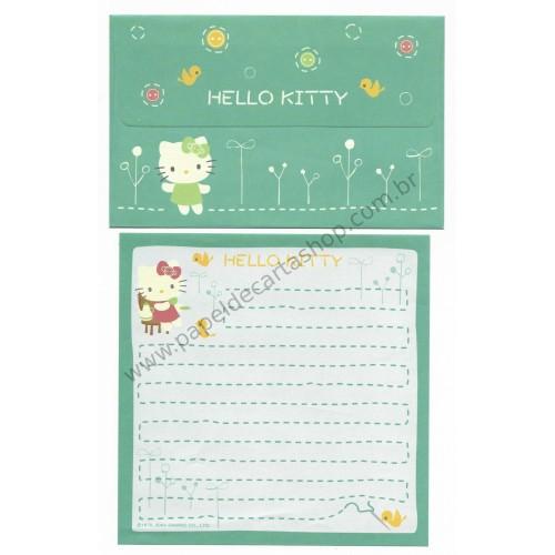 Ano 2004. Conjunto de Papel de Carta Hello Kitty Buttom Sanrio