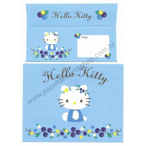Ano 2004. Conjunto de Papel de Carta Hello Kitty Blueberry Sanrio