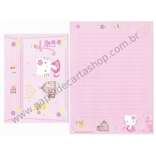 Ano 2005. Conjunto de Papel de Carta Hello Kitty French Sanrio