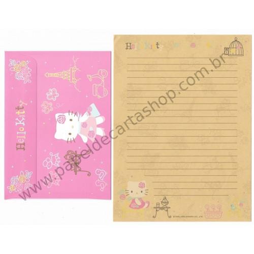 Ano 2005. Conjunto de Papel de Carta Hello Kitty French Kraft Sanrio