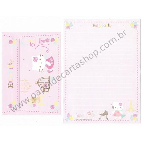 Ano 2005. Conjunto de Papel de Carta Hello Kitty French2 Sanrio