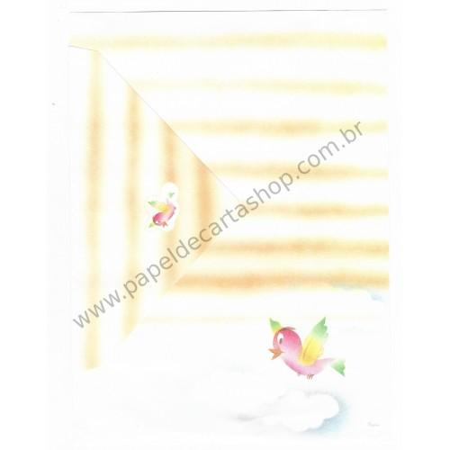 Conjunto de Papel de Carta Antigo Coleção Kartos - Pássaro Rosa